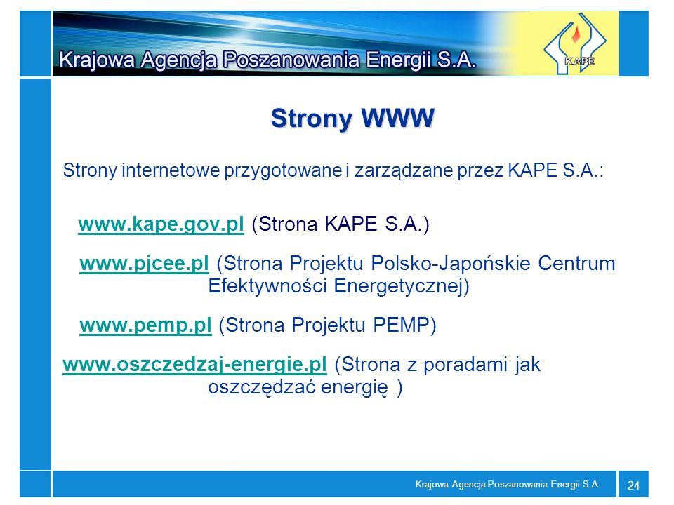 Strony WWWStrony internetowe przygotowane i zarządzane przez KAPE S.A.: www.kape.gov.pl (Strona KAPE S.A.)