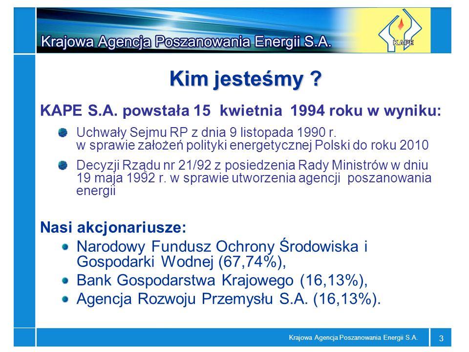 Kim jesteśmy KAPE S.A. powstała 15 kwietnia 1994 roku w wyniku: