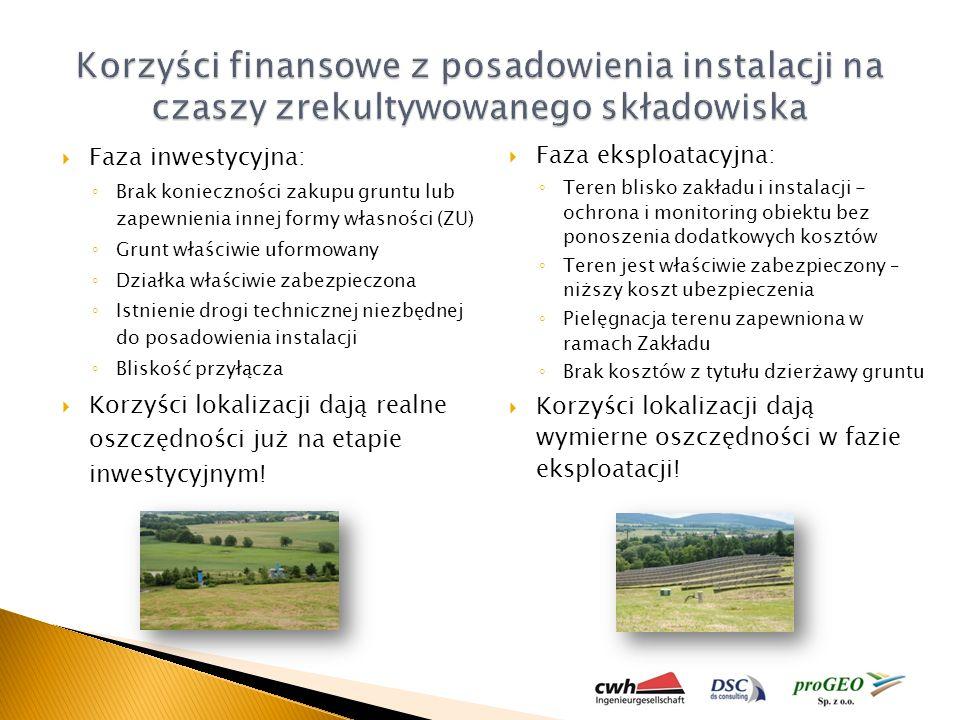 proGEO Sp. z o.o. Korzyści finansowe z posadowienia instalacji na czaszy zrekultywowanego składowiska.