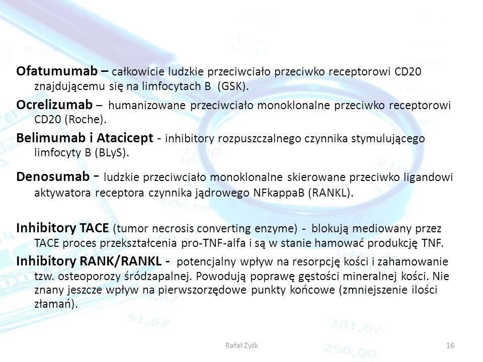 Ofatumumab – całkowicie ludzkie przeciwciało przeciwko receptorowi CD20 znajdującemu się na limfocytach B (GSK).