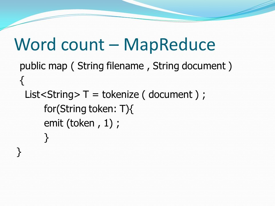 Word count – MapReduce