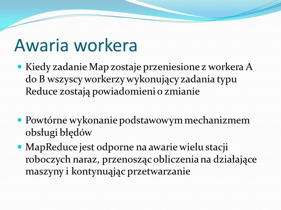 Awaria workera Kiedy zadanie Map zostaje przeniesione z workera A do B wszyscy workerzy wykonujący zadania typu Reduce zostają powiadomieni o zmianie.