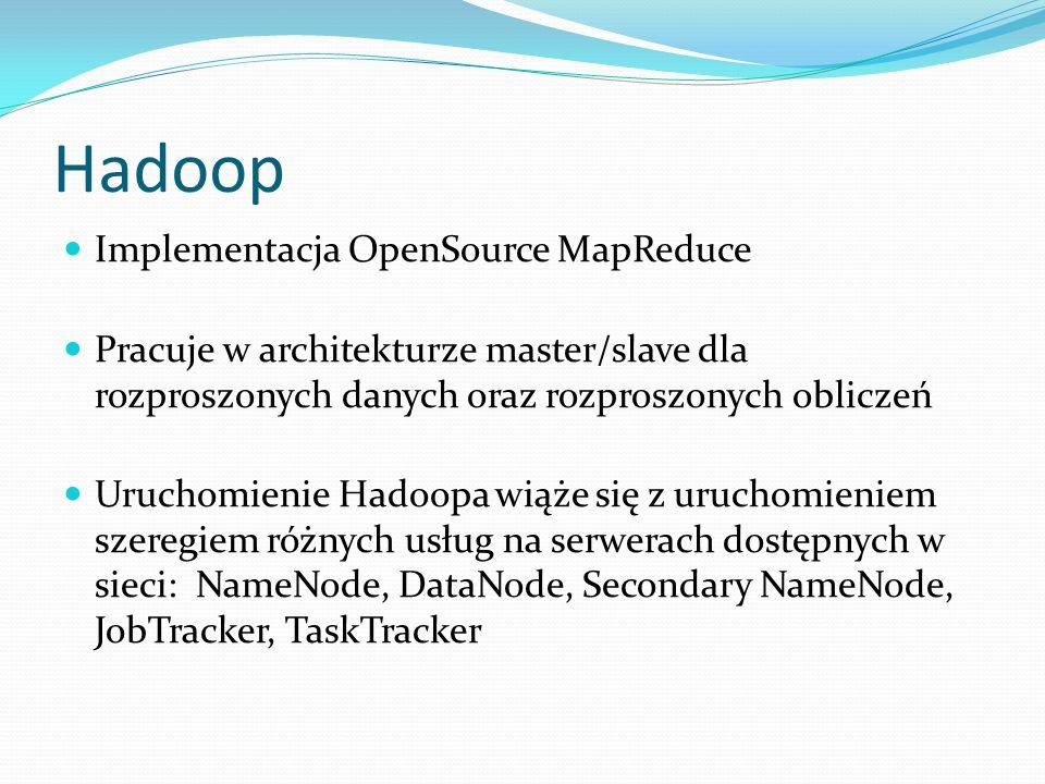 Hadoop Implementacja OpenSource MapReduce