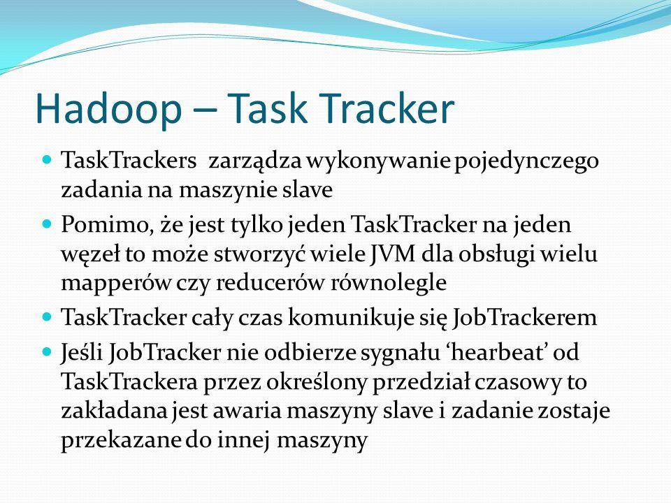Hadoop – Task Tracker TaskTrackers zarządza wykonywanie pojedynczego zadania na maszynie slave.