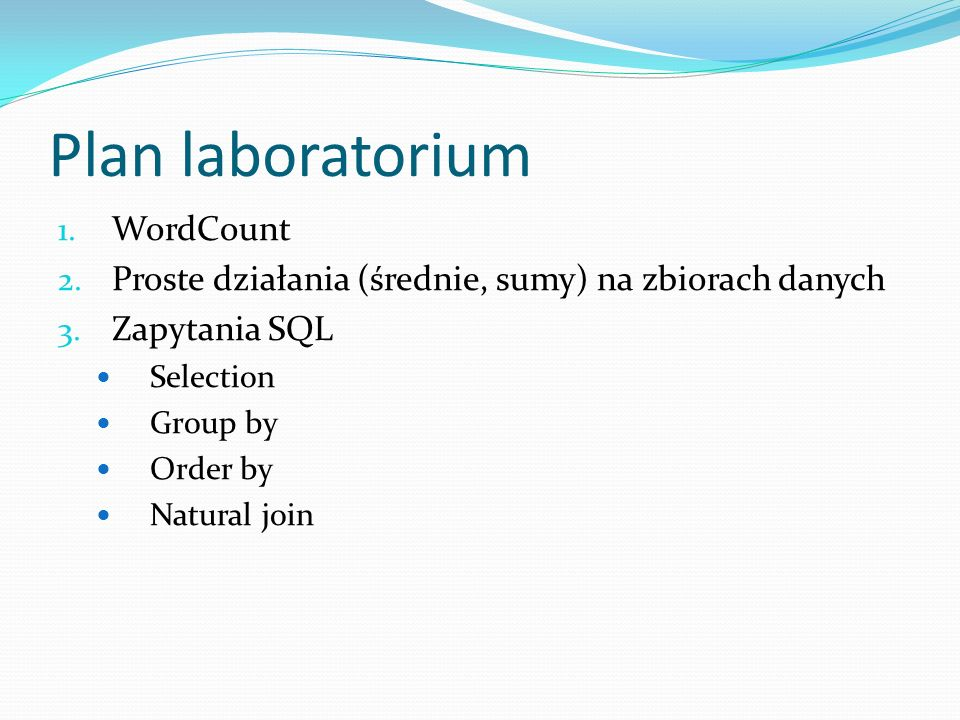 Plan laboratorium WordCount
