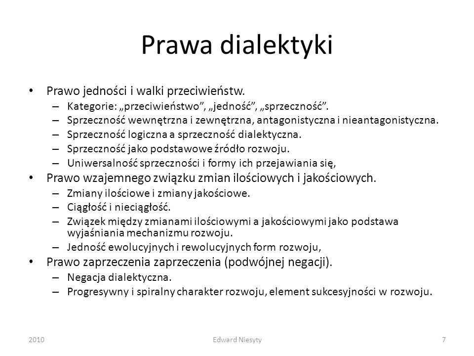 Prawa dialektyki Prawo jedności i walki przeciwieństw.