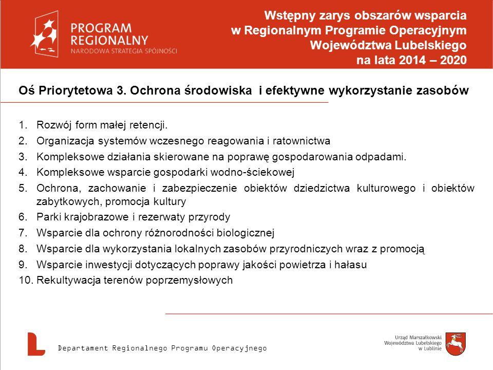 Wstępny zarys obszarów wsparcia w Regionalnym Programie Operacyjnym Województwa Lubelskiego na lata 2014 – 2020
