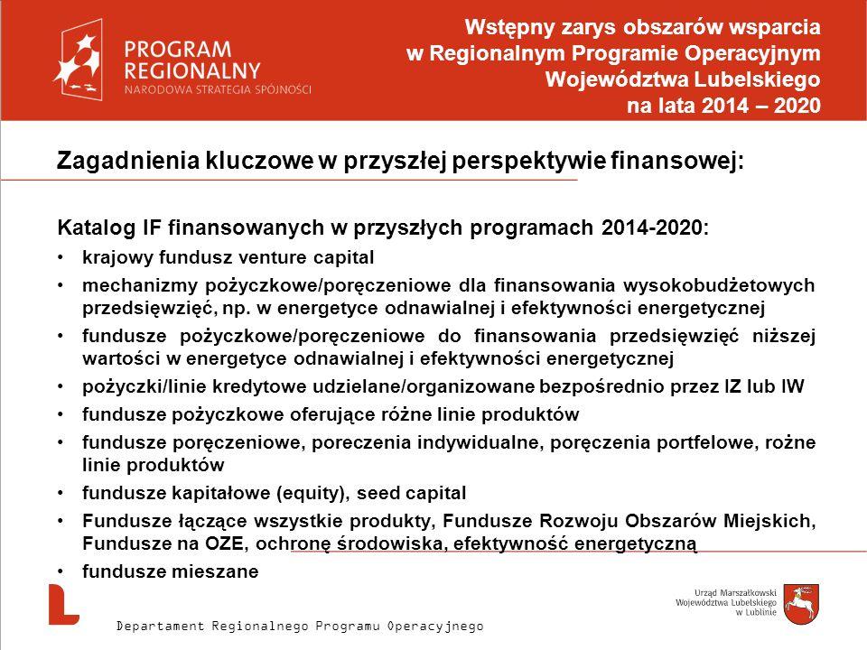 Zagadnienia kluczowe w przyszłej perspektywie finansowej: