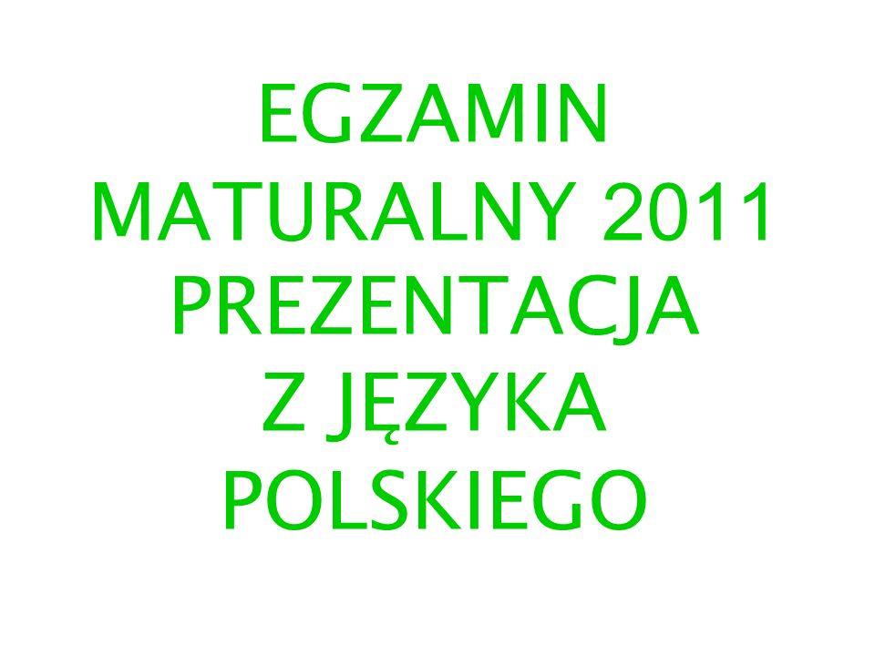 EGZAMIN MATURALNY 2011 PREZENTACJA Z JĘZYKA POLSKIEGO