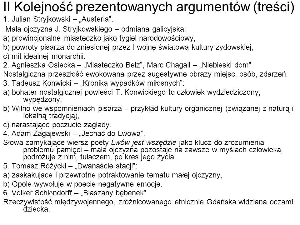 II Kolejność prezentowanych argumentów (treści)