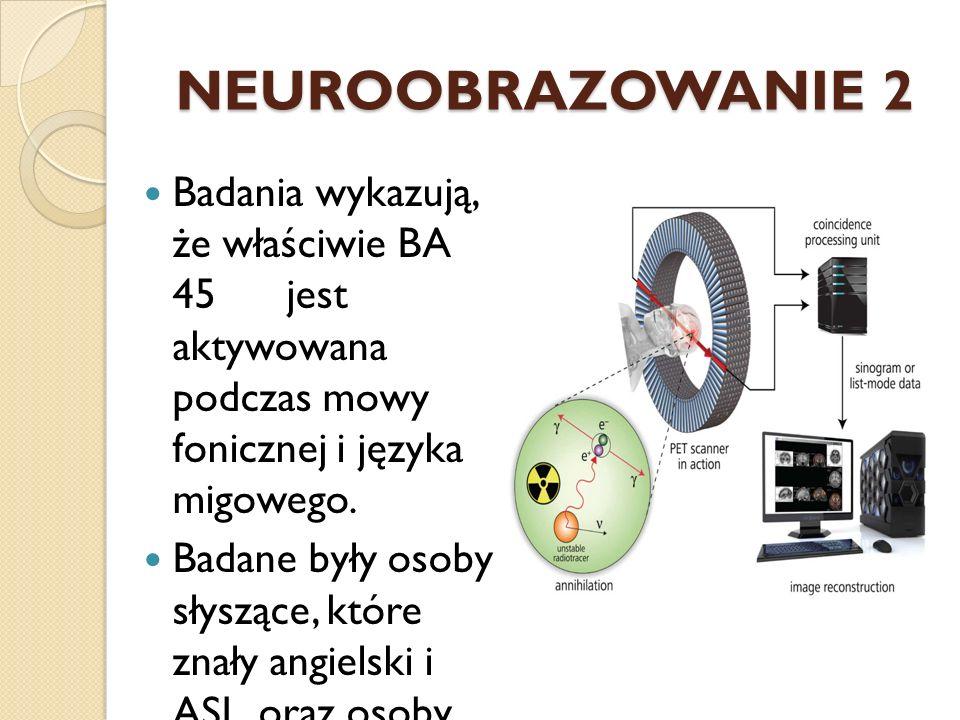 NEUROOBRAZOWANIE 2 Badania wykazują, że właściwie BA 45 jest aktywowana podczas mowy fonicznej i języka migowego.