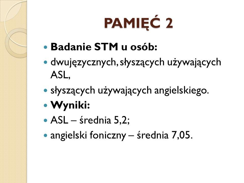 PAMIĘĆ 2 Badanie STM u osób:
