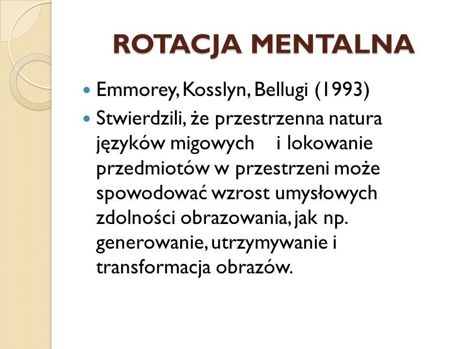ROTACJA MENTALNA Emmorey, Kosslyn, Bellugi (1993)