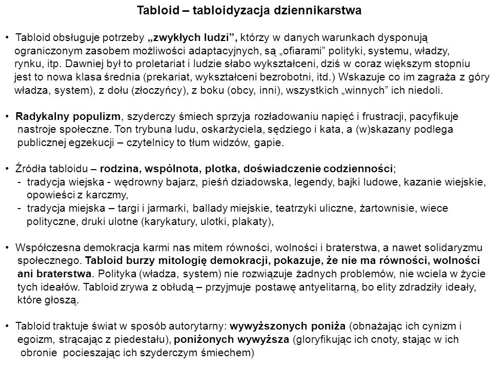 Tabloid – tabloidyzacja dziennikarstwa