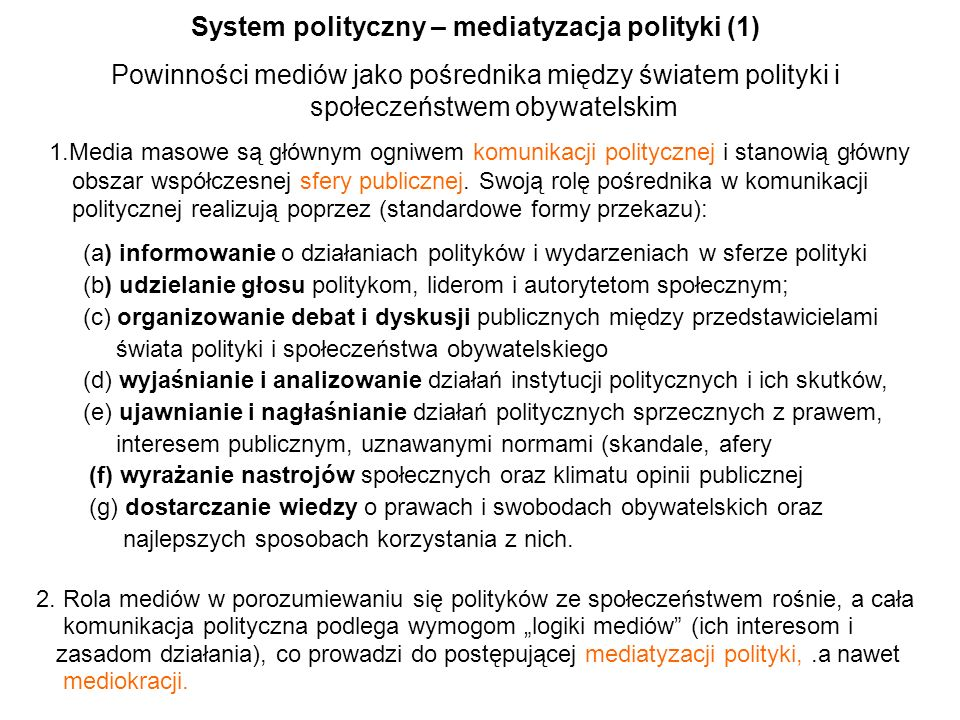 System polityczny – mediatyzacja polityki (1)