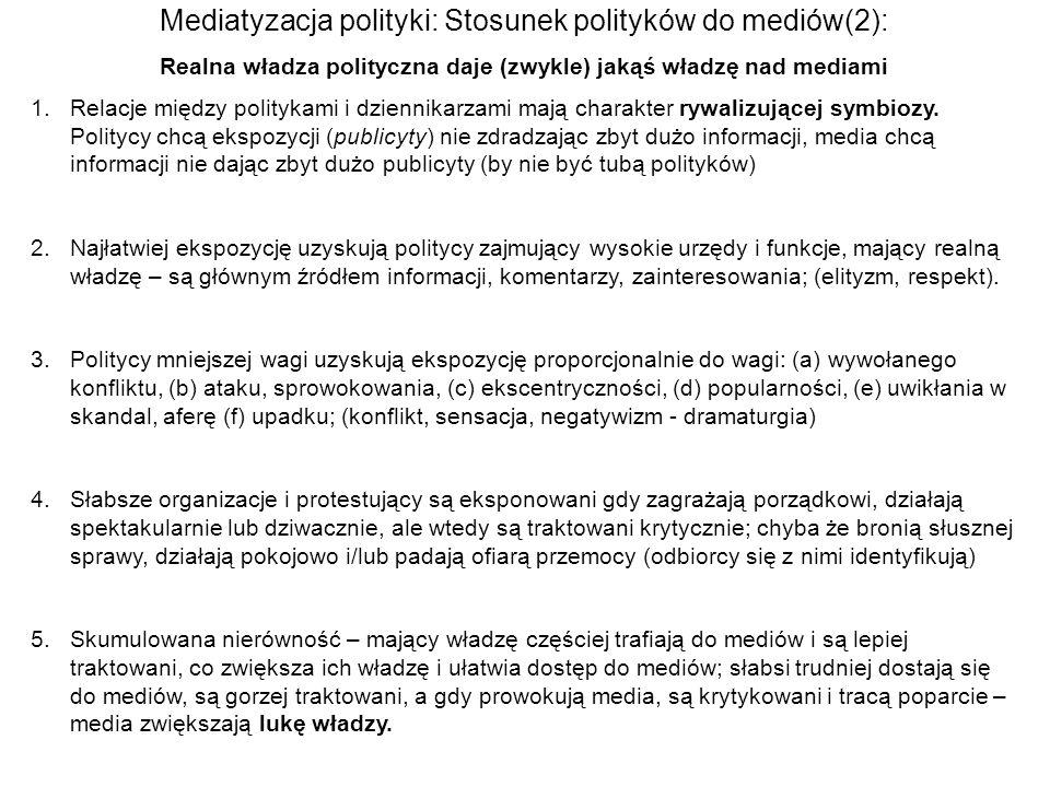 Realna władza polityczna daje (zwykle) jakąś władzę nad mediami