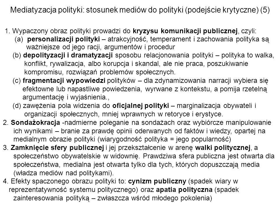 Mediatyzacja polityki: stosunek mediów do polityki (podejście krytyczne) (5)