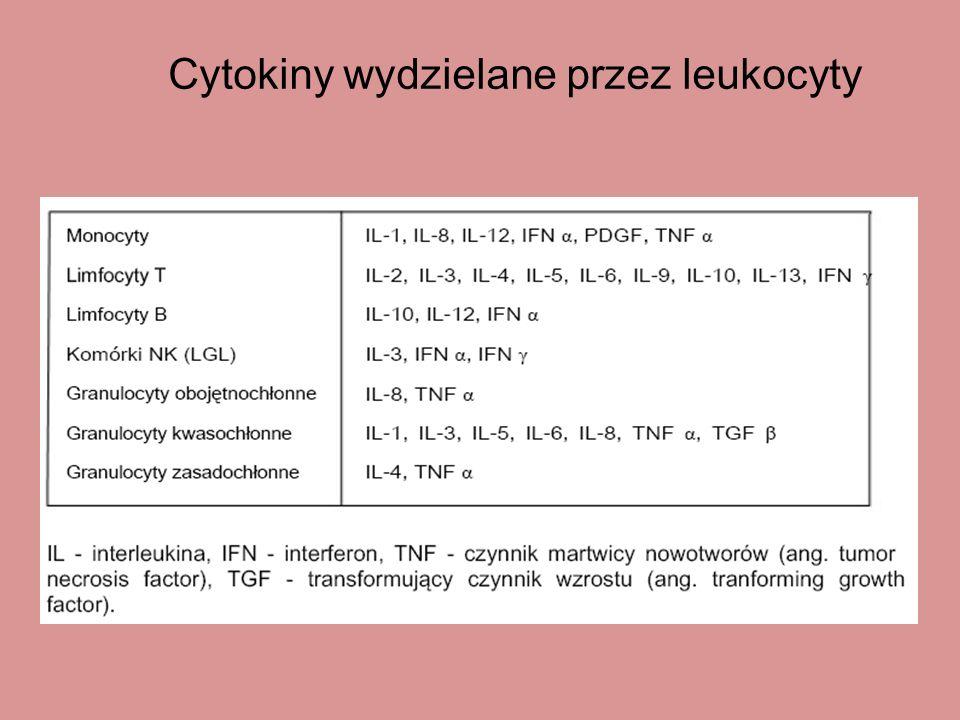 Cytokiny wydzielane przez leukocyty
