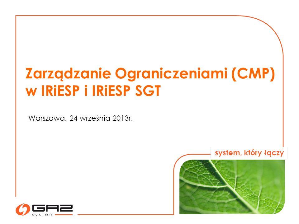 Zarządzanie Ograniczeniami (CMP) w IRiESP i IRiESP SGT