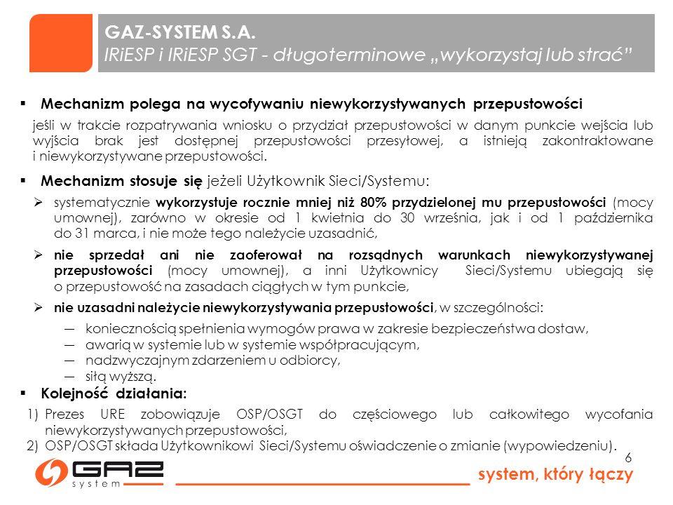 """GAZ-SYSTEM S.A. IRiESP i IRiESP SGT - długoterminowe """"wykorzystaj lub strać"""