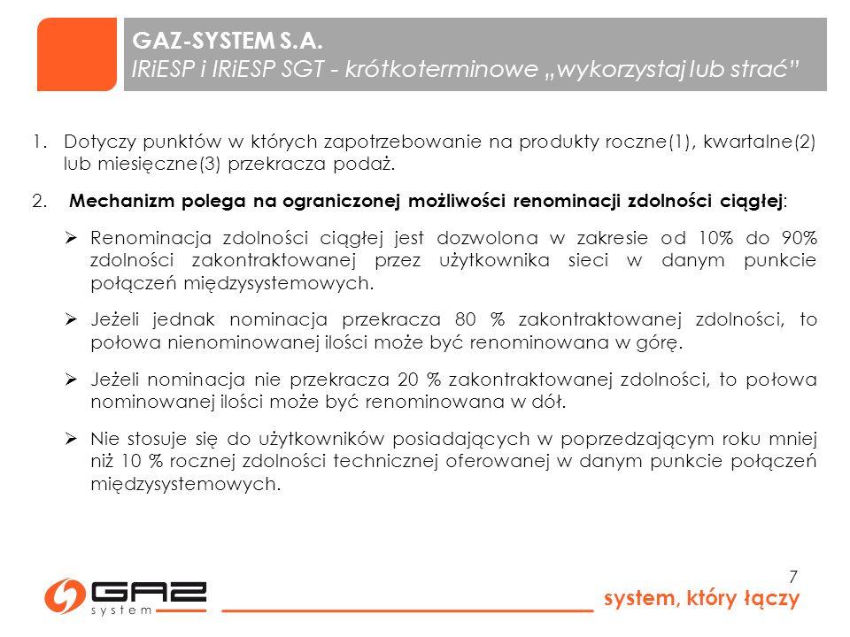 """GAZ-SYSTEM S.A. IRiESP i IRiESP SGT - krótkoterminowe """"wykorzystaj lub strać"""