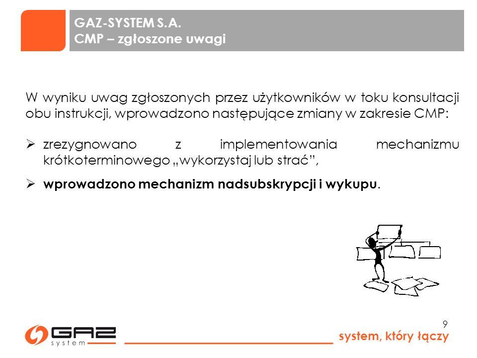 GAZ-SYSTEM S.A. CMP – zgłoszone uwagi