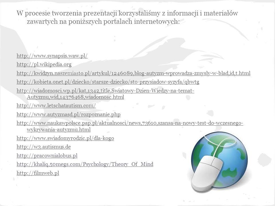 W procesie tworzenia prezentacji korzystaliśmy z informacji i materiałów zawartych na poniższych portalach internetowych: