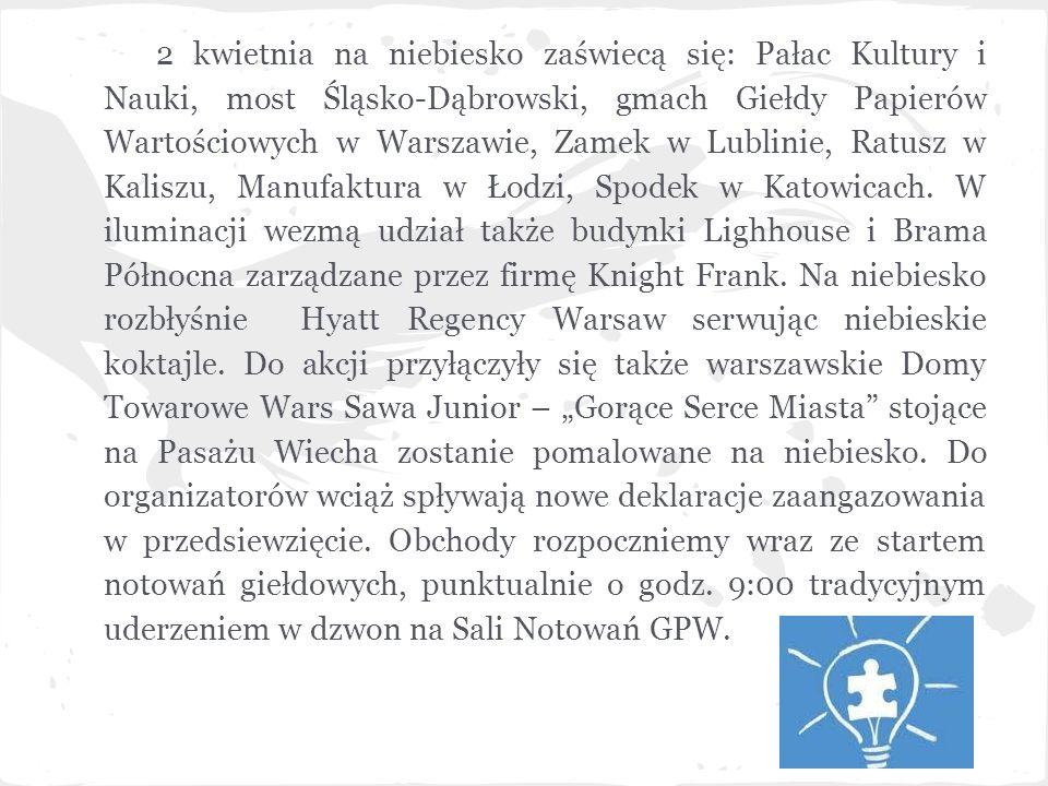 2 kwietnia na niebiesko zaświecą się: Pałac Kultury i Nauki, most Śląsko-Dąbrowski, gmach Giełdy Papierów Wartościowych w Warszawie, Zamek w Lublinie, Ratusz w Kaliszu, Manufaktura w Łodzi, Spodek w Katowicach.