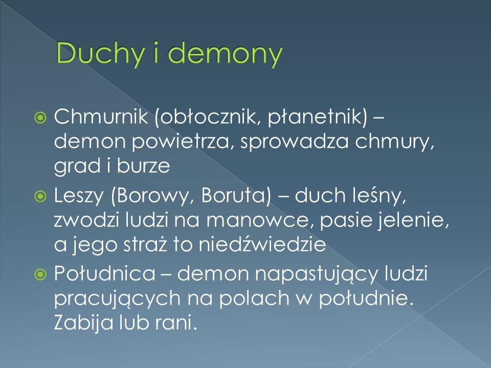 Duchy i demony Chmurnik (obłocznik, płanetnik) – demon powietrza, sprowadza chmury, grad i burze.