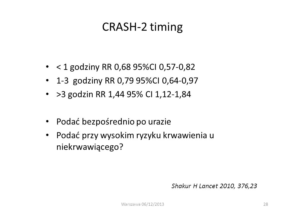 CRASH-2 timing < 1 godziny RR 0,68 95%CI 0,57-0,82