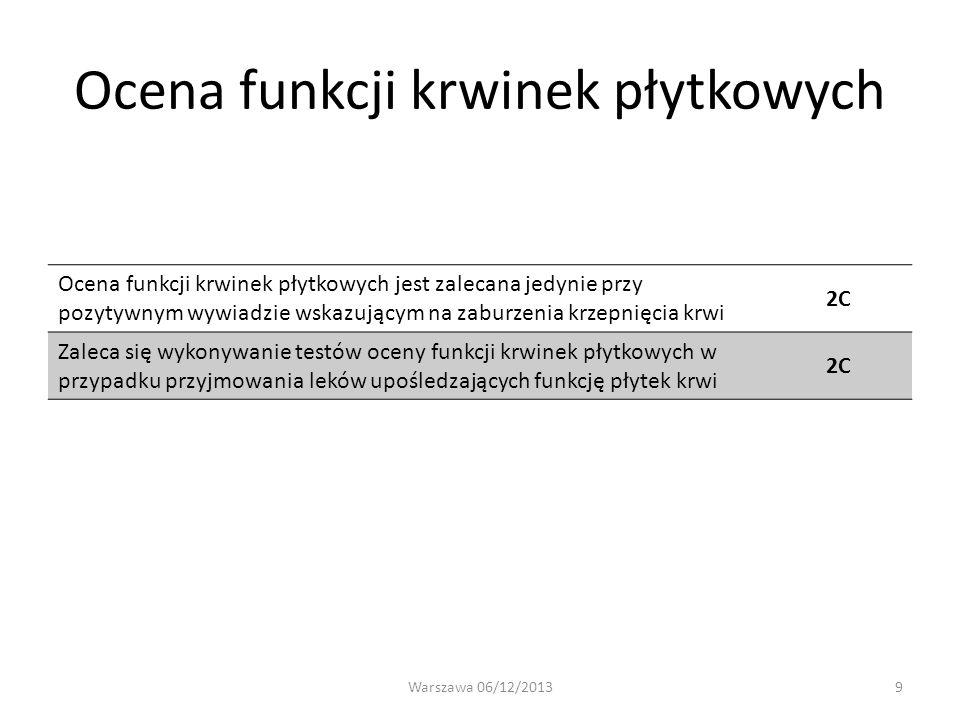 Ocena funkcji krwinek płytkowych