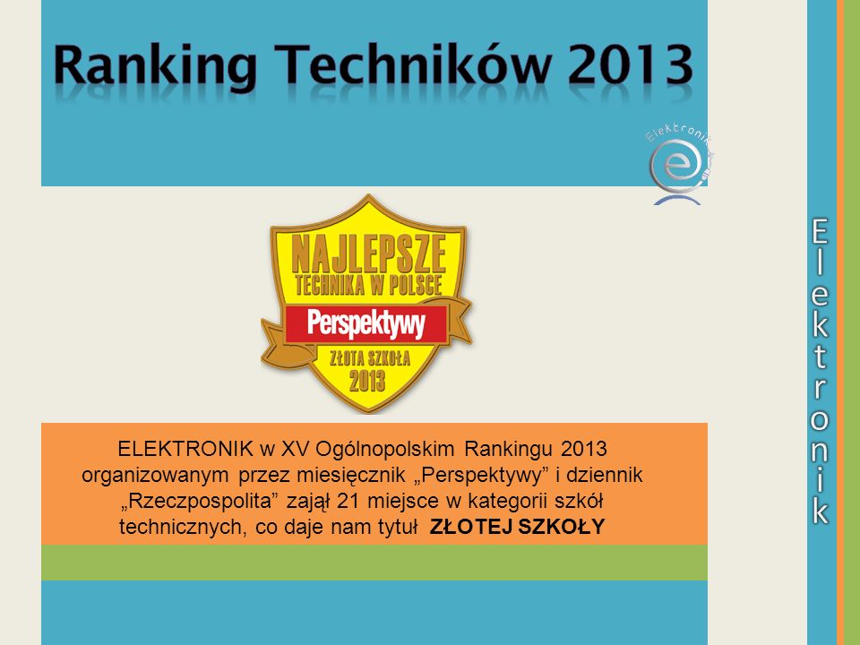 Ranking Techników 2013 E l e k t r o n i k