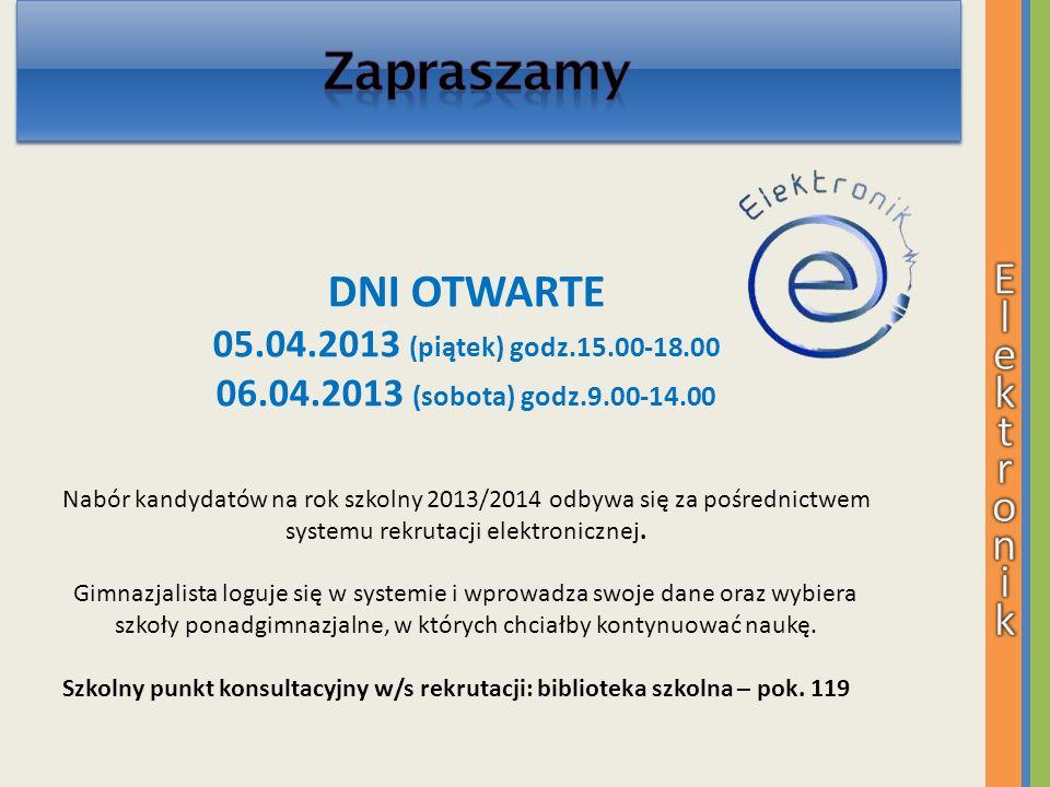 DNI OTWARTE 05.04.2013 (piątek) godz.15.00-18.00