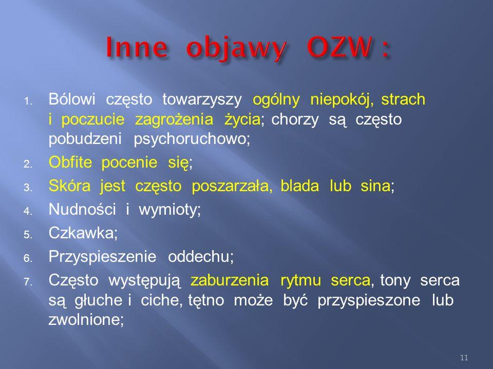 Inne objawy OZW :