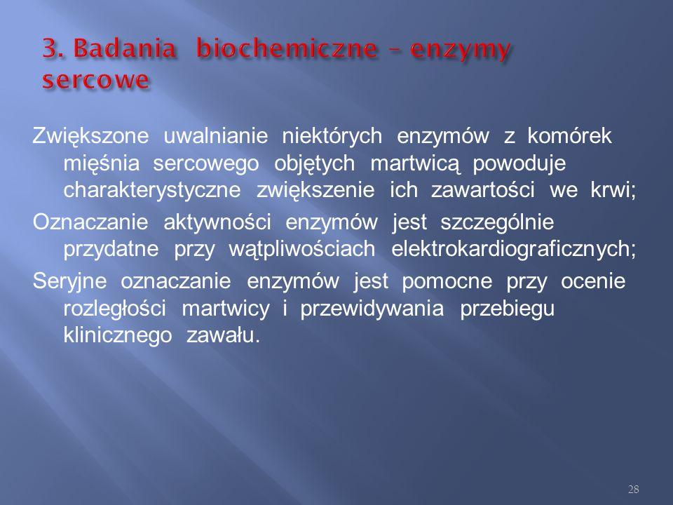 3. Badania biochemiczne – enzymy sercowe