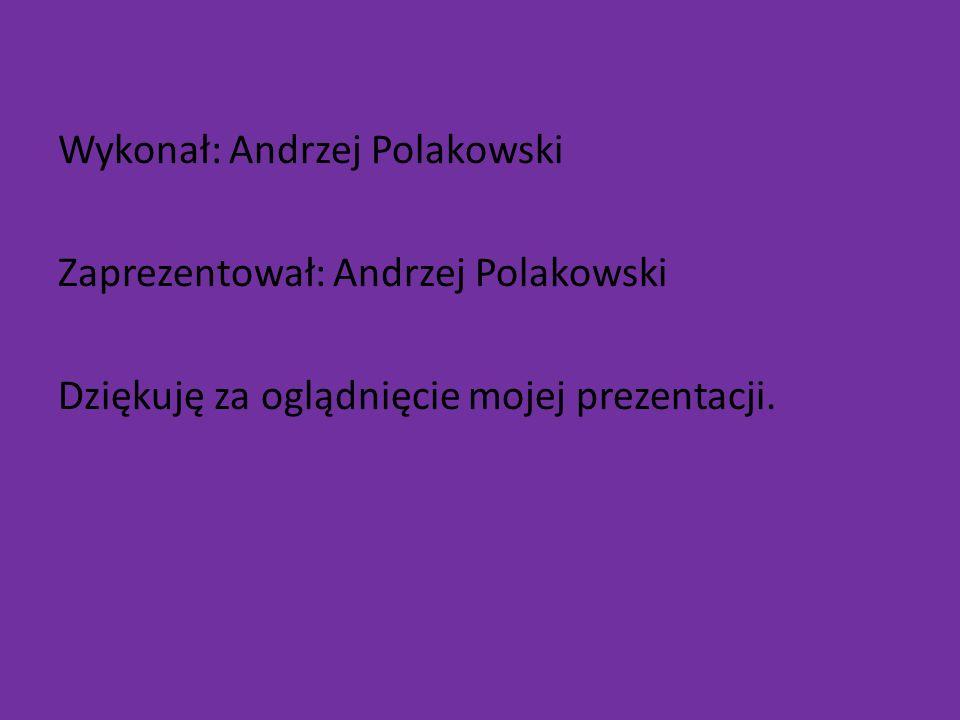 Wykonał: Andrzej Polakowski Zaprezentował: Andrzej Polakowski Dziękuję za oglądnięcie mojej prezentacji.