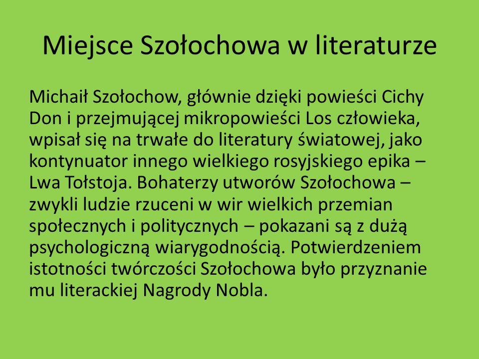 Miejsce Szołochowa w literaturze