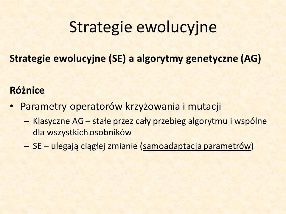 Strategie ewolucyjne Strategie ewolucyjne (SE) a algorytmy genetyczne (AG) Różnice. Parametry operatorów krzyżowania i mutacji.