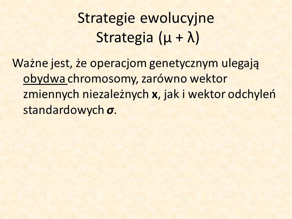 Strategie ewolucyjne Strategia (μ + λ)