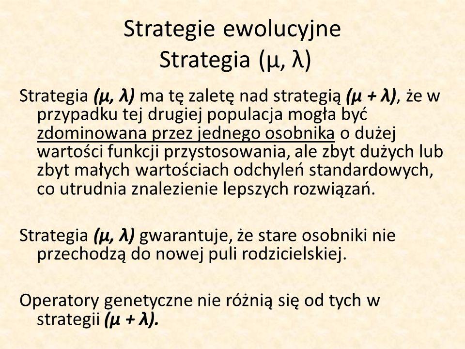 Strategie ewolucyjne Strategia (μ, λ)