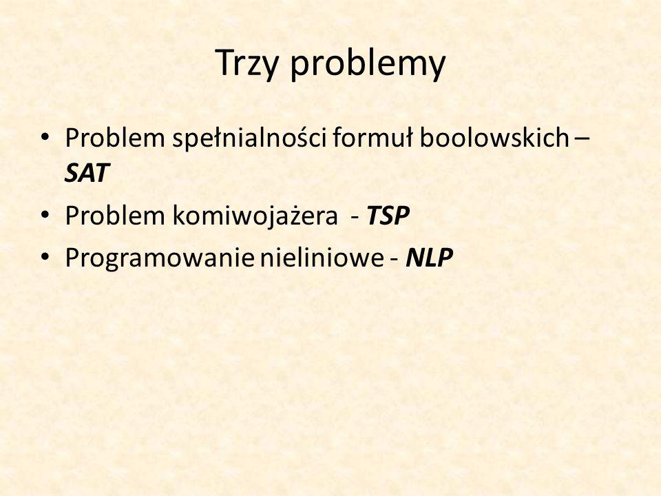 Trzy problemy Problem spełnialności formuł boolowskich – SAT