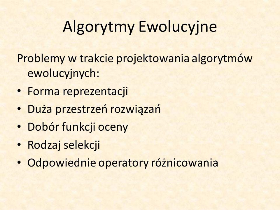 Algorytmy Ewolucyjne Problemy w trakcie projektowania algorytmów ewolucyjnych: Forma reprezentacji.