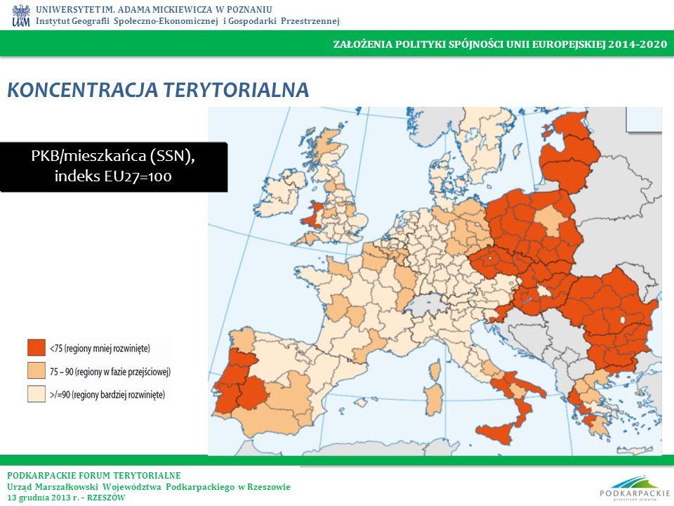 PKB/mieszkańca (SSN), indeks EU27=100