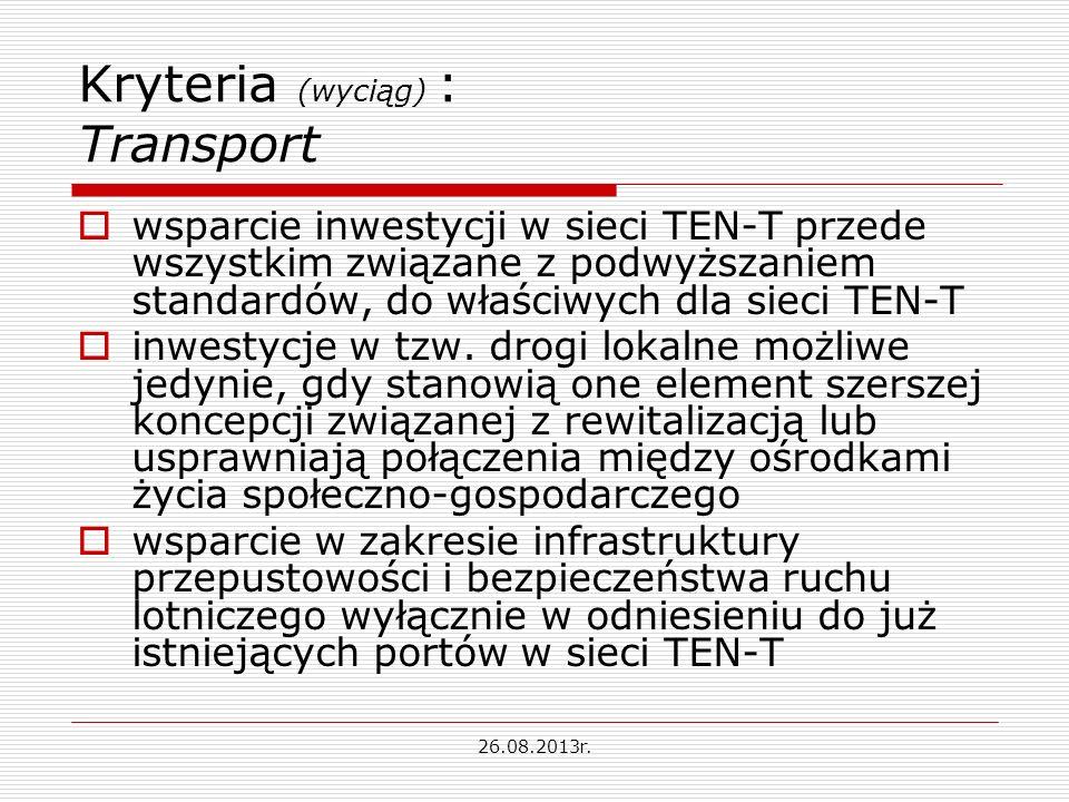 Kryteria (wyciąg) : Transport