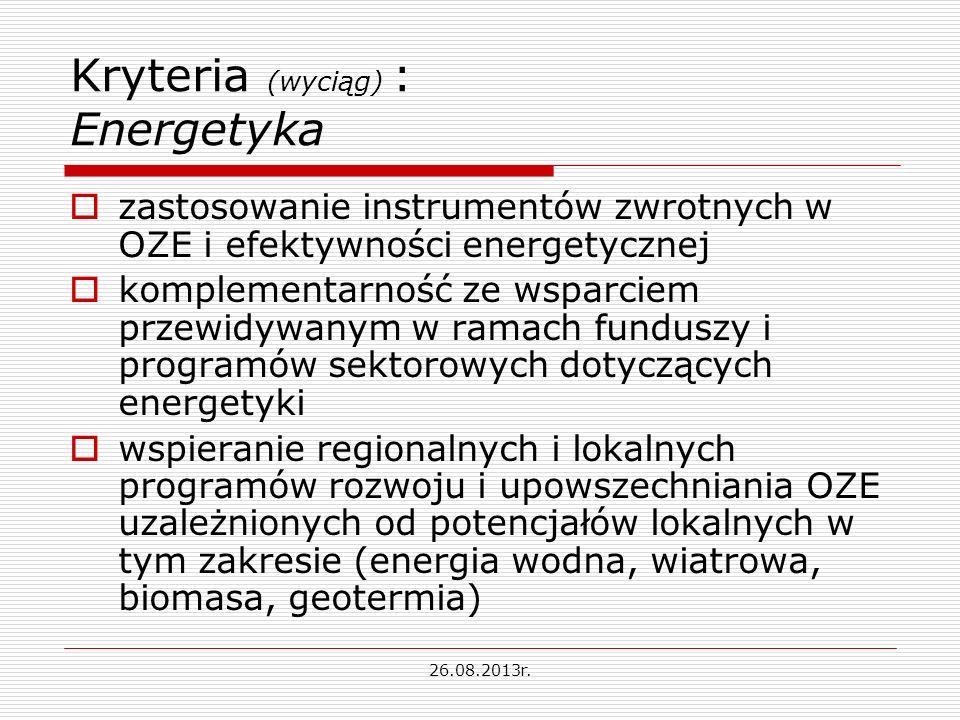 Kryteria (wyciąg) : Energetyka