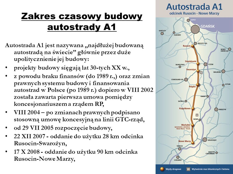 Zakres czasowy budowy autostrady A1
