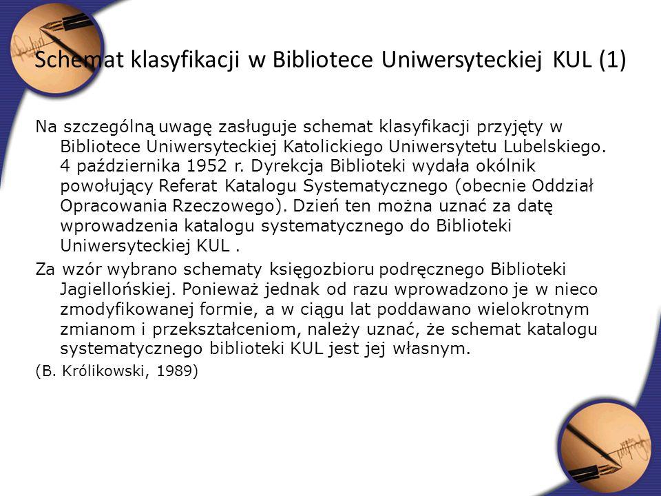 Schemat klasyfikacji w Bibliotece Uniwersyteckiej KUL (1)