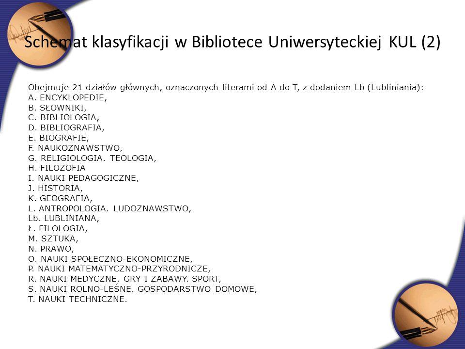 Schemat klasyfikacji w Bibliotece Uniwersyteckiej KUL (2)