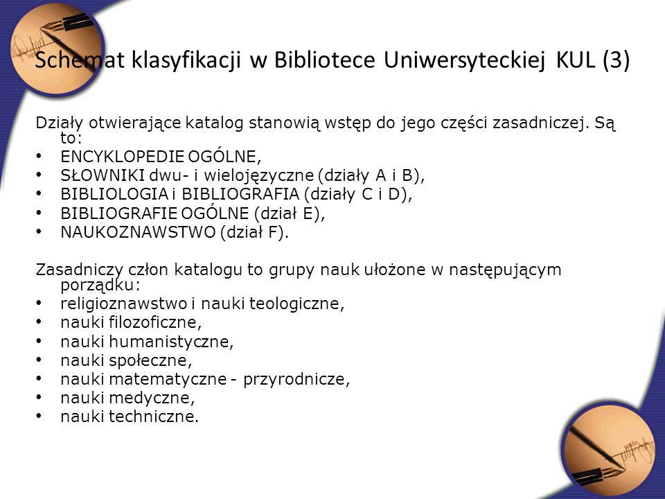 Schemat klasyfikacji w Bibliotece Uniwersyteckiej KUL (3)