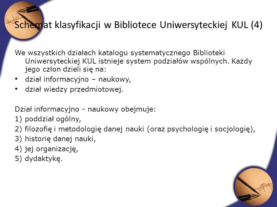 Schemat klasyfikacji w Bibliotece Uniwersyteckiej KUL (4)